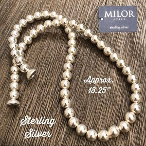 """MILOR Sterling Silver Ball Bead Necklace 18.25"""""""